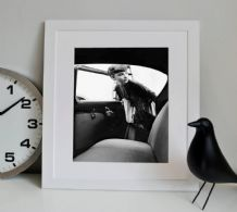 Audrey Hepburn Get In Car Icon - Decorative Arts, Prints & Posters,Wall Art Print, Poster Any Size - Black and White Poster